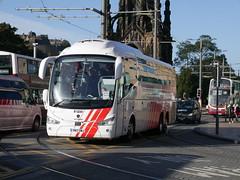 City Circle of Hayes Scania K410EB6 Irizar i6 YN17OMJ 145, in Globus Tours livery, at Princes Street, Edinburgh, on 20 September 2018. (Robin Dickson 1) Tags: citycircle busesedinburgh yn17omj irizari6 scaniak410eb6 globustours