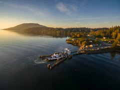 Ferry Dock on Lummi Island, Washington (EdBob) Tags: lummiisland ferry ferryboat ferrydock dock aerial drone dji phantom3 sunrise morning commute commuting whatcomchief whatcomcounty pacificnorthwest pugetsound water waterfront transportation autumn fall cars auto automobile salishsea halespass sanjuanislands america usa above mountain trees landscape edmundlowephotography edmundlowe allmyphotographsare©copyrightedandallrightsreservednoneofthesephotosmaybereproducedandorusedinanyformofpublicationprintortheinternetwithoutmywrittenpermission