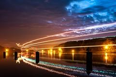 Ship traffic (16.10.2018) (Siebbi) Tags: sonnenuntergang sunset sundown abend evening nacht night longtimeexposure langzeitbelichtung lighttrails lichtspuren nordostseekanal kielcanal wasser water sky himmel ship schiff traffic verkehr