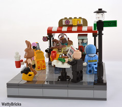 Gotham Coffee Stand - View #3 (WattyBricks) Tags: vignette scarecrow 40358 bean there donut that gotham rogues gallery captain cold lex luthor lego dc comics superheroes eraser march harriet batman