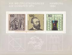 Deutsche Briefmarken (micky the pixel) Tags: briefmarke stamp ephemera deutschland bundespost block weltpostkonferenz upu ernstheinrichwilhelmvonstephan post