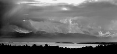 Christmas Hill Saanich looking towards Olympic Mountains Washington State (PhotonArchive) Tags: saanich christmashill britishcolumbia blackandwhite clouds sunbeams rays juandefuca pacific seascapde harbour harbor contrast dramatic