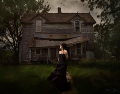 Don't Look Back ({jessica drossin}) Tags: jessicadrossin portrait photography pretty woman lady girl dress black house dark ravens crows birds decay rural country broken trees halloween creepy spooky wwwjessicadrossincom