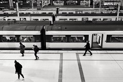 Same Seat Every Night (Douguerreotype) Tags: london england monochrome people blackandwhite uk british train mono city britain urban gb bw station