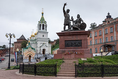 Monument to Minin and Pozharsky. (Oleg.A) Tags: ancient autumn nizhnynovgorod church street monument city cityscape dome clouds sculpture morning tower orthodox architecture cross antique white russia old overcast town exterior colorful statue design cathedral sky cloudy nature outdoor bell style catedral outdoors nizhnynovgorodoblast ru