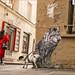 les vieux contes finissent mal, en général (kalzennyg) Tags: streetart loup paris conte kalzennyg france dog chien rouge