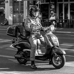 grumpy on a radiant scooter (every pixel counts) Tags: 2018 berlin scooter capital street city people europa everypixelcounts blackandwhite square helmet chrome bw man old reflection germany 11 prenzlauerberg eu day berlinalive blackwhite
