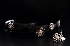 Traveling to Norway (Goruna) Tags: macromondays perfectmatch jewellery leatherbracelet earrings black goruna pilgrim
