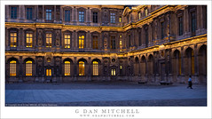 Courtyard at the Louvre, Evening (G Dan Mitchell) Tags: france paris louvre museum figure walk night evening courtyard building architecture eu europe travel photography