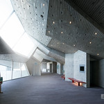 Foyer space. It is rare design of sloped ceiling in Japan. ホワイエです。日本じゃないようなデザインです。