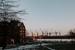 Hamburg  2018 (tinto) Tags: 2018 23mm 28mm 35mm fuji fujifilm fujilove fujix10 fujix100t fujixseries hamburg mirrorless nordsee tintography urlaub vsco vscofilm wclx100 wideangel winter x100t hafen hafenliebe port harbor cranes sunset
