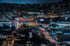 highway 280 8th street off-ramps (pbo31) Tags: sanfrancisco california nikon d810 color october 2018 city urban boury pbo31 night black dark lightstream traffic motion roadway street over civiccenter fox plaza siemier soma 280 ramps overpass 80