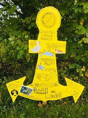 Ulverston Canal Regeneration Group Anchor Fest 2018 on the canal towpath. (Bennydorm) Tags: savetheplanet recycling vegetation greenery countryside rural greenandyellow yellow octobre october inghilterra inglaterra europe uk gb britain england cumbria furness ulverston colourful colours iphone6s handicrafts homemade crafts exhibition display decorated artwork art towpath maritime festival anchor