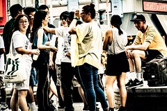 Group Force (sKame-rameha) Tags: street people group tourism foreigner downtown city