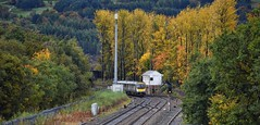 Diggle Junction Greater Manchester Yorkshire 13th October 2018 (loose_grip_99) Tags: diggle greater manchester northwest england uk autumn fall colours railway railroad rail train transpennine express dmu diesel multiple unit class185 transportation trees lnwr standedge route junction signal box trains railways october 2018