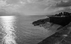 Mist & rain is coming in! (WorcesterBarry) Tags: blackwhite bnw blackandwhite shadows sky sea harbour seascape clouds stormclouds light outdoors lovebw landscape lines monochrome mist england dawn adventure humour pier places photographers kindness heritage gates