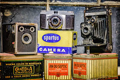 Three Oldies (Back Road Photography (Kevin W. Jerrell)) Tags: antiques cameras antiquecameras tins stilllife stilllifephotography daysgoneby nikond7200 sigmalens niksoftware collectibles