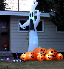 Lawn decorations (diffuse) Tags: halloween decorations pumpkin ghost display yard odc