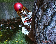 Peek-a-Boo (bellesonsie) Tags: secondlife sl halloween clown pennywise it costume graveyard forest tree balloon horror scary scare face mask death knife macabre psycho