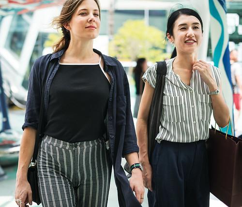 Girlfriends enjoying with shopping in downtown