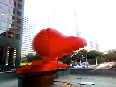 """double ascension"" (citymaus) Tags: dtla downtown la losangeles building buildings architecture doubleascension publicspace public art plaa sculpture stairs stair stairway nowhere red swirl swirling fountain herbert bayer city national"