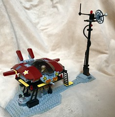 Star Hopper personal spacecraft with landing pad. Expansion pack for my space adventure playset™️®️©️ (Buster®) Tags: lego spaceship space conceptart red swoosh swoosher planetarylandscape playset adventure spaceadventureplayset