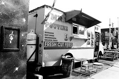 Mr Poutine (marinatilly) Tags: pentax sp1000 film 35mm bw bank street ottawa food truck poutine