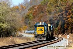 CSX 8566-7773, Q368, Eureka, PA. 10-27-2014 (jackdk) Tags: train railroad railway locomotive ge gelocomotive c408 c408w sd50 emdsd50 emd csx csxt csxpittsburghsub csxkeystonesub eureka eurekapa freighttrain freight q368 whistle whistlepost bo baltimoreandohio standardcab fallcolor fall