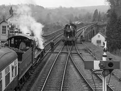 Passing Trains (Jason_Hood) Tags: gwr 45xxx 4566 bewdley bewdleystation severnvalleyrailway blackandwhite monochrome