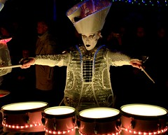 Spark Drummer in Blackpool (Tony Worrall) Tags: neon lights lit drummers drum sparks sparkdrummers blackpool northwest north music musical play band group sounds percussion playing costume buy sell bought stock image night evening shine england northern english visit tour place resort fun entertainment entertain person woman female player banging thumping interesting instagram