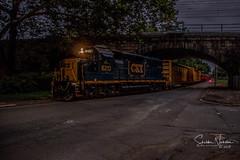 Evening Glow (Sheldon N. Slusser) Tags: bridge csx freight streetrun morrisville localtrain gp402 mo33