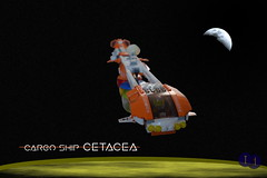 Cargo Ship Cetacea (Harding Co.) Tags: lego space spaceship scifi vehicle cockpit ship shiptember cargo orange white wings minifigure pods blue yellow green red engines