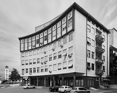 Ibni Pajko building, Skopje, Macedonia, by Gligorie Tomic - 1938 (AMANITO) Tags: amanito macedonia petrovski skopje vase аманито васе канон македонија петровски скопје building fotografija architecture photography architactural construction facade structure town old europe white landmark modern wall window easterneurope photograph texture squares diagonal abandoned derelict jurmala repetitive rhythm repetition regular material pattern