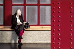 The traveller (Eva Haertel) Tags: eva haertel canon5dmarkiii reisen travel belgien belgium antwerpen antwerp bahnhof railwaystation bahnsteig platform frau woman old alt schreiben wrtite warten people mnensch street strase jugendstil artnouveau wait