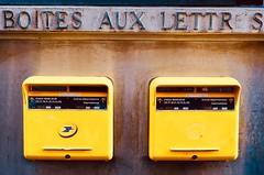 Boîtes Aux Lettr s (joanne clifford) Tags: fujifilmxt20 polygons bird boîteauxlettres postbox frenchpostalsystem l'oiseaupostal minimalism yellow mailbox france paris guygeorget postalbird laposte