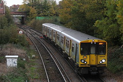 Merseyrail EMU 508125 departs West Kirby with 2W20  to Liverpool Central pictured from Graham road footbridge 4th November 2018 © (steamdriver12) Tags: merseyrail emu electric multiple unit 308125 departs west kirkby 2w20 liverpool central graham road footbridge 4th november 2018 overcast autumnal wirral cheshire england