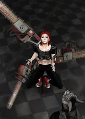 Thrown (Kallisti Burns) Tags: secondlife 3d virtual motion juggling chainsaws cat
