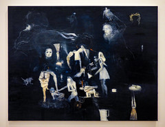 Séraphine Pick - Untitled 1998 (Steve Taylor (Photography)) Tags: séraphinepick untitled 1998 art painting picture black blue white yellow eerie spooky scary frightening people newzealand nz southisland kettle knife canterbury christchurch