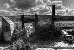 The Most Easterly Point In The County Of Lancashire (Missy Jussy) Tags: themosteasterlypoint thecountyoflancashire landscape lancashire walkinglandscape dogwalk walk moodylandscape moors moorland pennines marsdenmoor saddleworth denshaw clouds fence stile grass fields shadows light mono monochrome blackwhite bw blackandwhite outdoor outside countryside rural 24mm ef24mmf28 canon5dmarkll canon5d canoneos5dmarkii canon