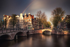 rainbow over amsterdam (Dennis_F) Tags: europe outdoors amsterdam architecture canal city outdoor sky traveldestination water canals keizersgracht rainbow autumn long exposure