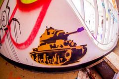New Age, Old Age (Thomas Hawk) Tags: america california cossonhall sf sagehall sanfrancisco starburst ti treasureisland usa unitedstates unitedstatesofamerica abandoned barracks decay graffiti stencil tank fav10