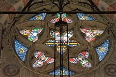 Cobwebs (mrpb27) Tags: gwuk guesswhereuk round window stainedglass williambutterfield seventhviscountdowne bishopofbathandwells stjames church spire tower baldersbystjames northyorkshire england uk gb nikon d5200 18200mmf3556gedifafsvrdx dxophotolab mrpb27