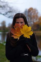 I see You (Shumilinus) Tags: 2012 50mmf18 girls nikond90 people portrait women park pretty sky tree autumn blackcoat fairweather warmclothing leaves longhair blueeyes water