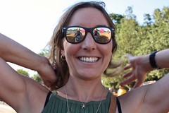 Hyde Park - June 2018 - Smile For Daddy (Gareth1953 All Right Now) Tags: london hydepark portrait amy beautiful young woman girl sunglasses reflection teeth smile laugh smiling happy earrings