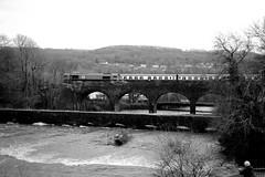 Aberdulais 80892bw (kgvuk) Tags: aberdulais valeofneathrailway train locomotive diesellocomotive class66 ews dbcargo 66230 valleyofthewitchrailtour viaduct