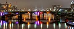 Southwark Bridge (Croydon Clicker) Tags: bridge structure architecture lights river water thames london reflection starburst mist overcast damp