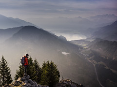 Let there be light (samleer) Tags: alps austria salzburgerland hiking lake landscape light morning mountain nature outdoors panorama scenic sunrise water singleperson hike europeanalps salzburg mountains wolfgangsee shadows valley viewfromabove