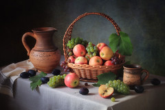 Still life with a basket of fruit (Tatyana Skorokhod) Tags: stilllife fruits berries grapes apples plums decor indoors
