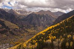 Telluride in Fall (JasonCameron) Tags: autumn fall mountains colorado range sky clouds aspen yellow gold mountain landscape
