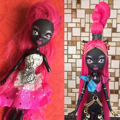 Before/After - Catty Noir Signature turned into Catty/Gigi Freaky Fusion (MyMonsterHighWorld) Tags: monster high catty noir original basic signature doll gigi grant freaky fusion inspired look before after custom mh mattel